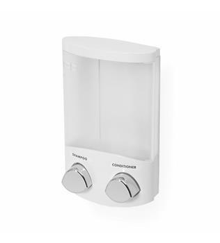 Dávkovač Compactor DUO mýdla / šampónu nebo desinfekce na zeď, bílý plast, 2x 310 ml