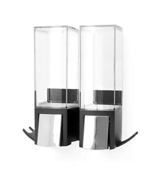 Dávkovač Compactor Edge mýdla / šampónu / desinfekce, nástěnný, chrom / ABS plast - černý